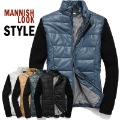 Free Shipping Male knitted sleeve patchwork PU wadded jacket thickening outerwear       8226