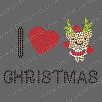 30pcs/Lot Free Shipping Beautiful I Love Christmas Rhinestone Transfers Wholesale Custom Design Available