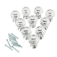 10 Pcs 30mm Crystal Glass Clear Cabinet Knob Drawer Pull Handle Kitchen Door Wardrobe Hardware