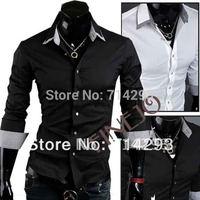 2013 Men's Shirt Korean Casual Slim fit Long Sleeve Dress Grid Collar Shirts Luxury 2 color 4 Size free shipping 3634 b015