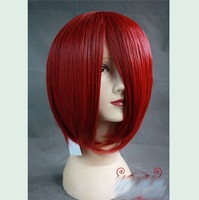 Heat resistance dark red short straight cosplay synthetic wig,MSN cos hair.Free shipping