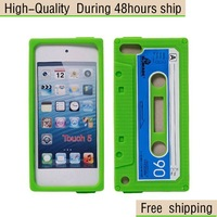 New Retro Cassette Tape silicone Case Cover For Apple iPod Touch 5 5G 5th Free Shipping UPS DHL EMS HKPAM CPAM PA-5