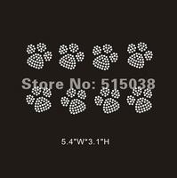 DHL Free shipping 50pcs/Lot iron on rhinestone transfers Pawprint design ,MOQ(30pcs)&custom design is welcome