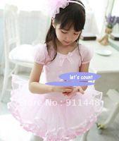 ballet tutu dance dress  1 piece pink short sleeve  tutu cotton pick size style 014