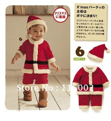 retail Baby Romper Set Outfits Hat Cap 2pcs Infant Winter Clothing Children Christmas OutWear Santa(China (Mainland))