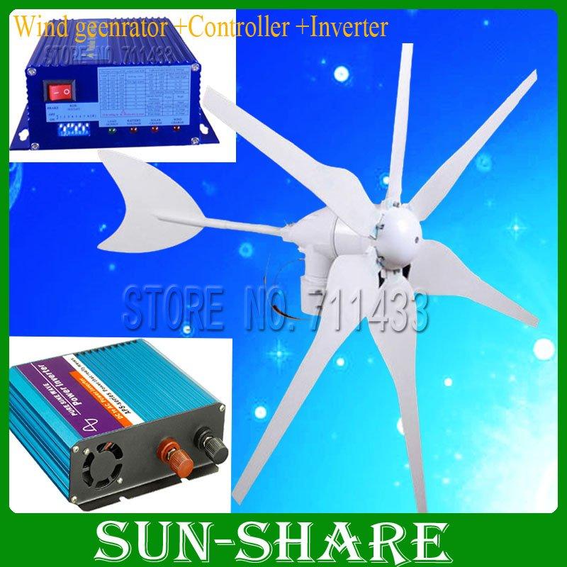 Brand New 300w Wind Turbine Generator+wind solar hybrid controller + pure sine wave inverter to be wind system 2Years Warranty!(China (Mainland))