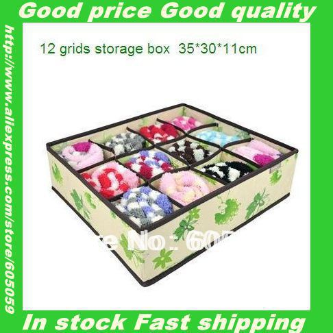 Non woven fabric material Good Quality Folding 12 grids No cover underwear storage boxes UH094(China (Mainland))