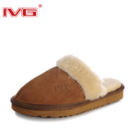 Ivg winter thermal home slippers cotton-padded slippers indoor warm feet shoes genuine leather thermal cotton-padded shoes