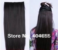 "natural black 20"" 22"" 24"" 26"" 28""  30"" 32"" 120g 140g #1b one piece set clips extensions 100% human hair free shipping"