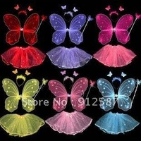 Free shipping BUTTERFLY FAIRY PRINCESS Wings Magic Wand Headband skirt Set Angel for dressup for pary&Performance -Lucy store