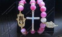 Top Popular Fatima Hand Bracelet, Silver Plated Cross Bracelet Alloy Wing Bracelet Set BS020