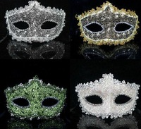 20pcs/Lot 2012 new Venice style fashion Masquerade/Halloween/Club/Birthday/Pole Dance party mask with Rhinestone&amp;Lace mix color