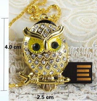 Crystal Metal owl Model USB 2.0 Flash Memory Stick Pen Drive 2GB 4GB 8GB 16GB 32GB LU122