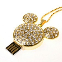 Crystal Metal Mickey Model USB 2.0 Flash Memory Stick Pen Drive 2GB 4GB 8GB 16GB 32GB LU125