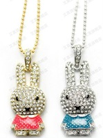 Crystal Metal rabbit necklace Model USB 2.0 Flash Memory Stick Pen Drive 2GB 4GB 8GB 16GB 32GB LU130