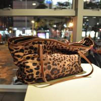 2012 female bags fashion trend leopard print bag cowhide genuine leather bag shoulder bag