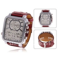 Fashionable Style V6 Luminous Triple Time Modes Setting Leather Wrist Watch for Men (V6 6017)
