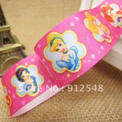 Free shipping, Snow White 1'' (25mm) printed ribbon rose color satin Ribbon DIY hairbows Kids gift ,10yds/roll,Dsn012(China (Mainland))
