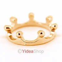 Wholesale - 2pcs New Golden Fashion Lady Small Cute Open Alloy Imperial Crown Finger Ring 261343