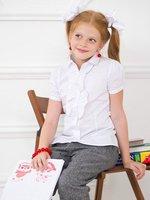 Short sleeve girl blouse/ Girls' school shirt/ Teenage uniform/ 4 sizes: M, L, XL, XXL for 5-14 years Girls