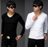 Free Shipping Mens V-neck T-Shirts Fashion Slim Fit T- shirt Primer Solid Color TeeFor Man,black and white,wholesale T2