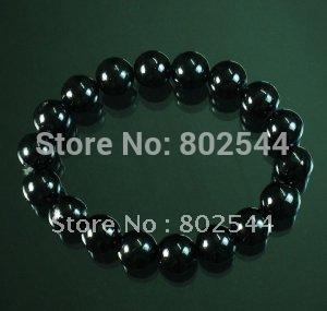 Varejo preto tibetano Jade pedra Bead budista Mala pulseira WZ222(China (Mainland))