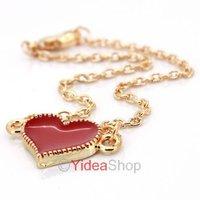 Wholesale - 2pcs Chic Red Heart Design Golden Chains Pendant Short Necklace Lucky Bracelet 261361