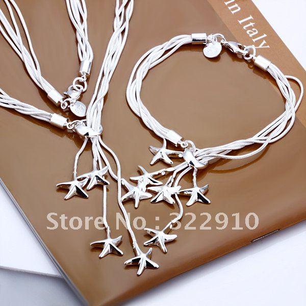 S007 Wholesale925 Sterling Sliver jewelry sets,Necklace/Bracelet,5-Line TAIJI Star Necklace/Bracelet,Free shipping(China (Mainland))