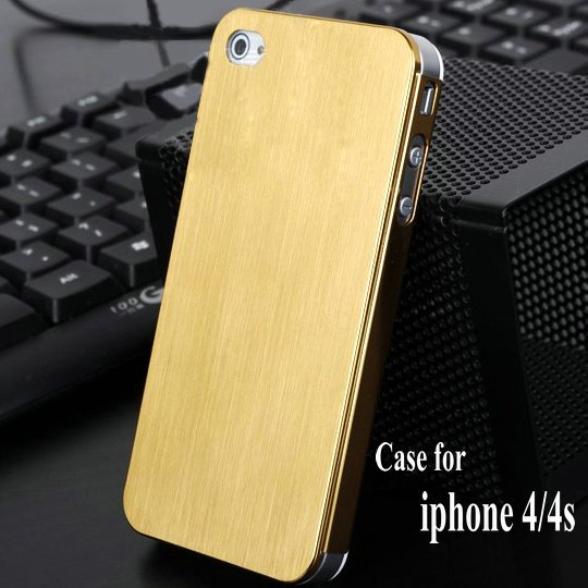 DHL freee shipping Metal Aluminum hard back case for iphone4 cover for iphone 4g back vintage luxury(China (Mainland))