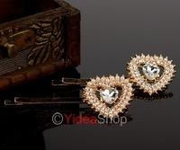 Wholesale - 2pcs Girls' Sweet Fashion Elegant Crystal Faux Pearl Flower Shaped Barrette Clips Hair Pin 261188