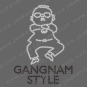 30pcs/Lot Free Shipping Latest Designs Hot Korean Gangnam Style Hotfix Rhinestone Transfers Iron on Motif  Wholesale