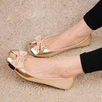 2012 autumn shoes fashion flat heel bow metal decoration round toe flat women's shoes single shoes