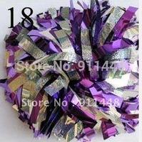 "cheerleader pom pom dual-head baton 6"" * 3/4"" professional poms  Holographic silver and metallic purple mini order 10 pieces"