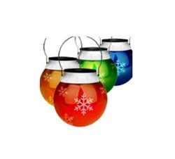 Free Shipping for 4pcs SOLAR CHRISTMAS ORNAMENT OUTDOOR LED LIGHT LANTERN HOLIDAY COLORED SNOW FLAKE Lamp Hot!(China (Mainland))