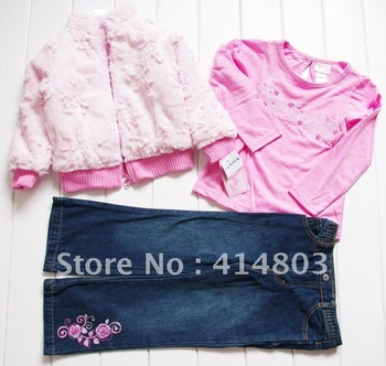 Wholesale 2-7Year Toddler Girls Pink 3PCS Set, Kids Winter Pink Fleece Coat+ Long Sleeve Tshirt+ Jeans Children's Clothing