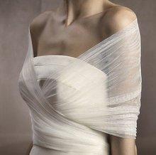 Elegant Free Shipping Wedding dress Voile Off Shoulder Half Sleeve 2012 Custom Made wedding bridal shawl Wrap Bolero Jacket(China (Mainland))