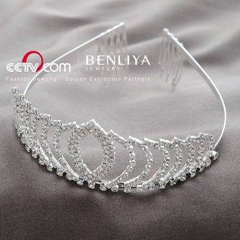 Free Shipping 3pcs/ lot Fashion Rhinestone Bridal Hair Claws Crown Wedding Tiara Silver Plated Bridal Hair Accessories