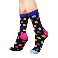 Cottonpop spring fashion casual male dot combed cotton knee-high socks pure .