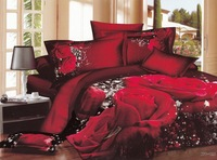 New hot Beautiful 100% Cotton 4pc Doona Duvet QUILT Cover Set bedding set Full / Queen/  King size 4pcs Red rose