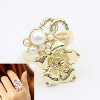 2011 ring fashion cc rich pearl flower ring 0069