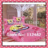 3pcs Bedding Set Cartoon Spongebob Squarepant pink Cotton children Kid Bedding Free Shipping