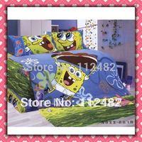 Free Shipping Spongebob Reactive dyes printed 4pcs Bedding Cotton Bedding Set Children's