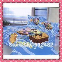 Free Shipping Spongebob blue Reactive dyes printed 4pcs Bedding Cotton Bedding Set Children's