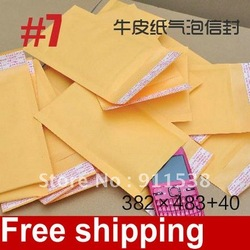 "Free shipping #7 Kraft paper Bubble Mailers Padded Envelopes Bags 382 x 483 + 40mm(15 x 19"") 50pcs/lot(China (Mainland))"
