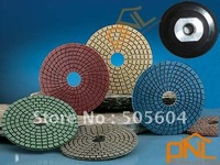 "7pc 4"" Diamond Polishing Pads Wet and Dry Set & Backer Pad Granite Concrete"