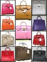 New Womens Handbag Ostrich Grain Faux Leather Tote Shoulder bag Purse M-35CM