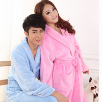 Autumn and winter coral fleece robe bathrobes lovers male Women thickening