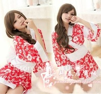 sy009 Free shopping 1pcs Red and white kimono pajamas sexy underwear opaque sakura bathrobe lovely flowers pajamas temptation