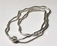 "Silver plus crystal stone bendy snake necklace, diameter 5mm, length 90cm(35""), free shipping"