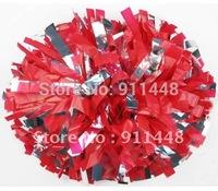 "cheerleader pom pom dual-head baton 6"" * 3/4"" professional poms plastic red and metallic silver mini order 10 pieces"